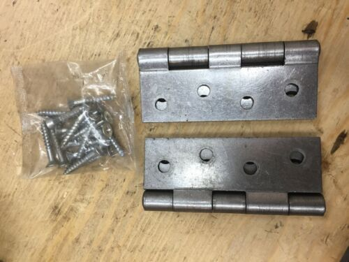 "1 PAIR 4/"" 100mm STRONG STEEL BUTT HINGES  DOOR  SELF COLOUR LISTER LJ042"