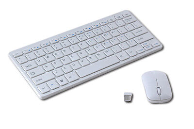 SLIM COMPACT WHITE 2.4GHz WIRELESS DESKTOP PC KEYBOARD AND MOUSE COMBO AUS