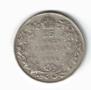 CANADA-1932-TWENTY-FIVE-CENTS-QUARTER-KING-GEORGE-V-800-SILVER-COIN