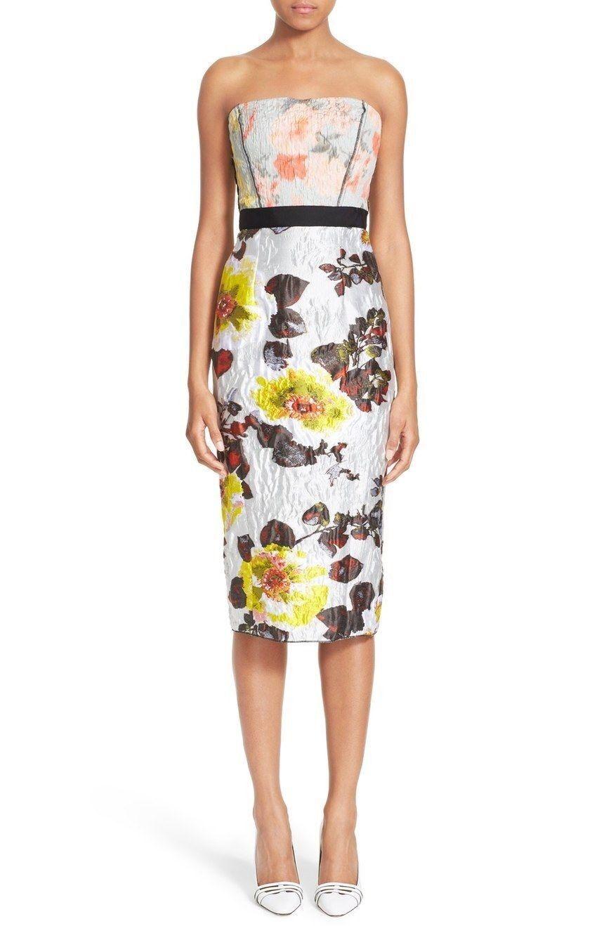 OSCAR DE LA RENTA Floral Matelassé Strapless Multi color Dress NWT 6  3600