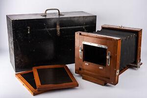 Antique-Wooden-6-1-2-x-8-1-2-Large-Format-Camera-with-2-Backs-amp-Case-V16