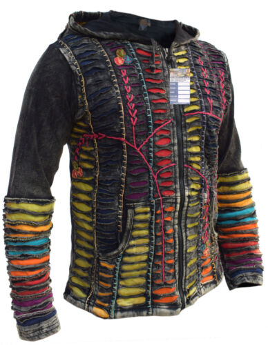 Funky Jacket Psychedelic Gothic Cotton Light Embroidery Men/'s Elf Pointed Hoodie