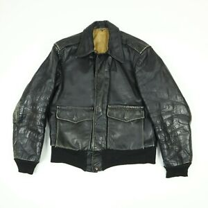 Vtg-60s-70s-Leather-Motorcycle-Jacket-S-M-Faded-Black-Distressed-Biker