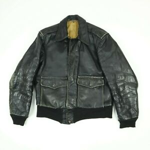 Vtg-60s-70s-Leather-Motorcycle-Jacket-S-M-Faded-Black-Distressed-Biker