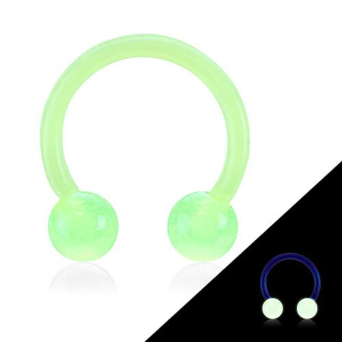 "1 PC 16g 3//8/"" Glow In Dark Circular Barbell Horseshoe Bio Flex Ear Ring 4MM Ball"