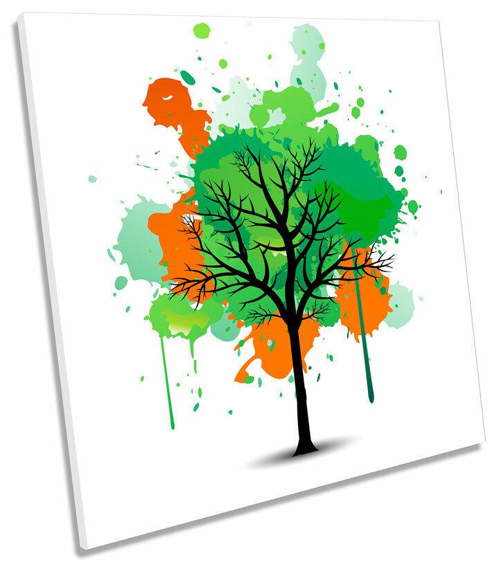 Grün Tree Orange Autumn Abstract SQUARE CANVAS WALL ART Boxed Framed