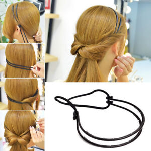 Women-039-s-Adjustable-Elastic-Rope-Double-Layer-Head-Band-Bun-Bobo-Hair-Hoop-Twist
