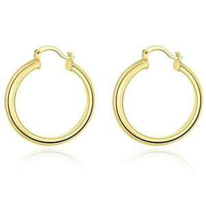 14K Yellow Gold 34mm Thickness High Polished Classic Hoop Earrings ITALY