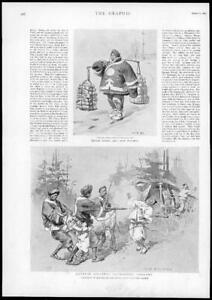 1895-Antique-Print-CHINA-Soldiers-Plundering-Koreans-Provisions-Laden-63