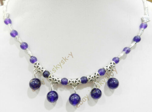 """LOVELY NATURAL RUSSIAN AMETHYST ROUND BEADS PENDANTS /& TIBET SILVER NECKLACE 18/"""""""