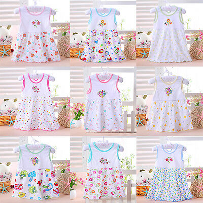 New Baby Newborn Toddler Kids Soft Princess Cartoon Summer Dress Clothes Lovely