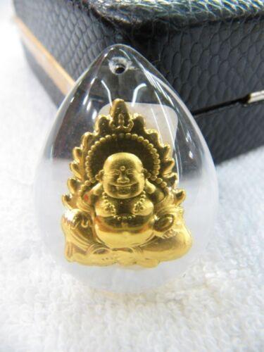 Nuevo Puro 999 Oro Sonrisa Colgante de Buda Sintético Cristal Bendición Colgante