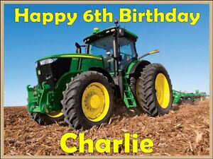 Image Is Loading Personalised Green Tractor Precut Edible Icing Birthday Cake