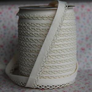 4m-12mm-Ivory-Bias-Binding-with-White-Picot-Lace-Edge-Trim-Vintage-Wedding