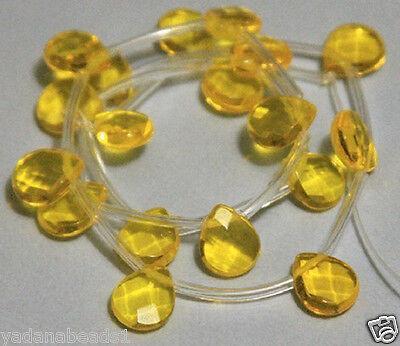 18 pcs of Citrine quartz glass faceted briolette bead 9x11mm