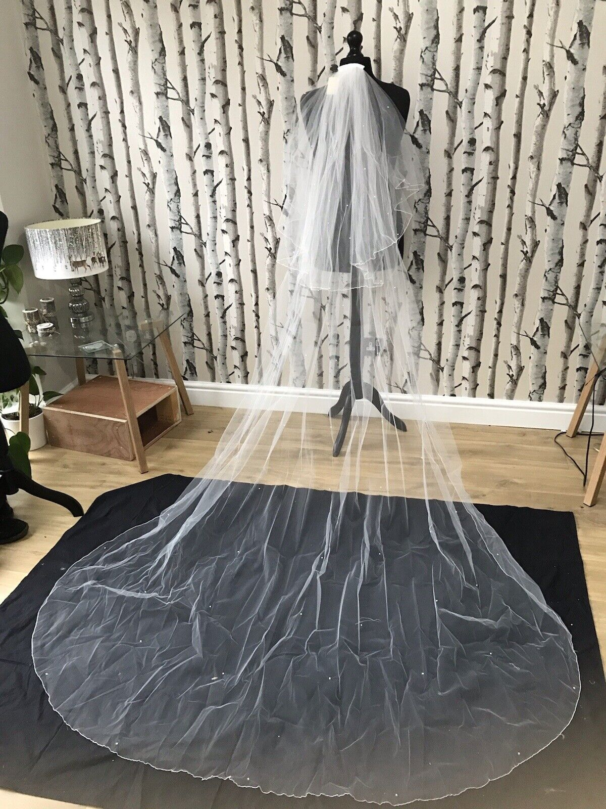 linzi jay Bridal Veil Cathedral Length With Blusher Pearl Detail