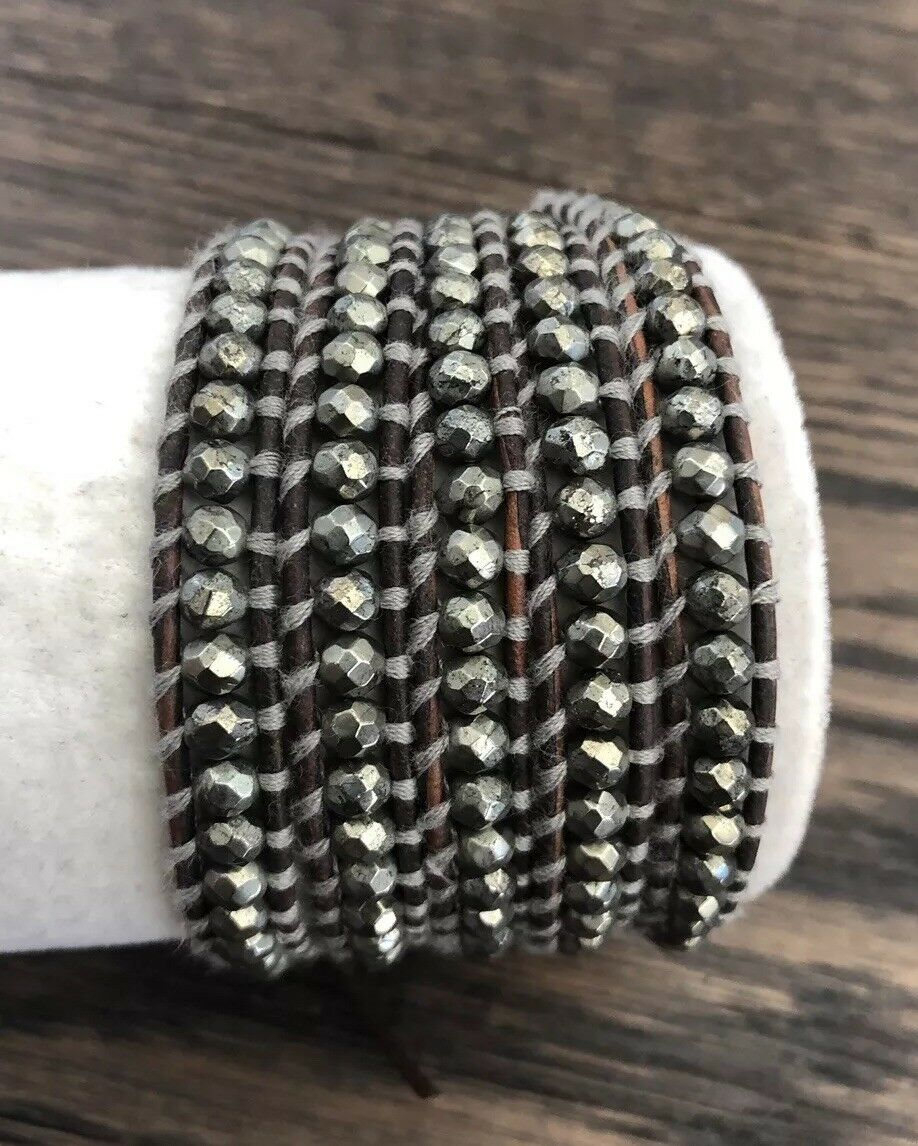 New Auth Chan Luu Pyrite  Five Wrap Bracelet on Natural Grey Leather