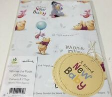 Giftwrap Winnie The Pooh New Baby 2 Sheets And 2 Tags Hallmark 11503308