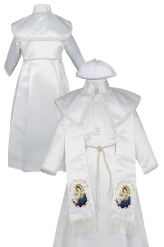 Boy Baby Toddler Christening Baptism Pope Virgin Mary Stole Gown New born to 30M