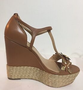 NEW-Michael-Kors-Heidi-Wedge-Light-Brown-Women-Shoes-Size-8