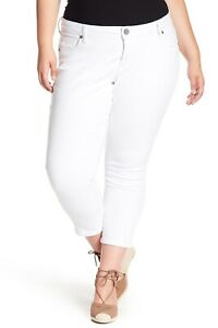 KUT-From-the-Kloth-Bardot-Crop-Skinny-Boyfriend-Jeans-White-Plus-size-24W