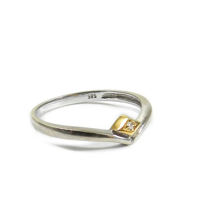 Feiner Diamant Ring 585 Gelb- & Weißgold matt mit Brillant Verlobungsring