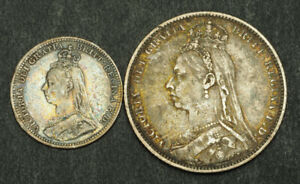 1890-Great-Britain-Queen-Victoria-Nice-Silver-3-Pence-amp-Shilling-Coins-2pcs