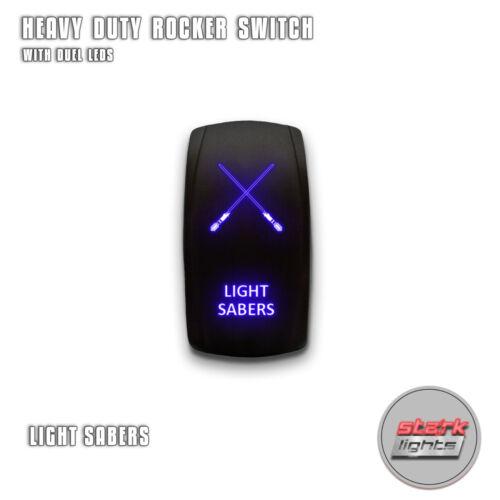 BLUE Laser LED Rocker Switch 5 PIN Dual Light 20A 12V ON LIGHT SABERS OFF