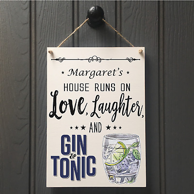 PERSONALISED GIN AND TONIC WALL SIGN handmade new home best friend sign 244