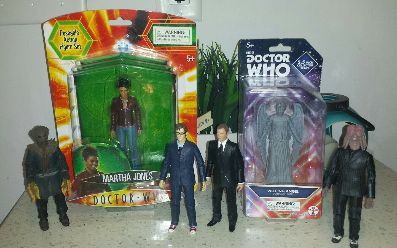 Doctor Who 6 Figure Lot 6  10th Tennant Martha Jones Weeping Angel Saxon Master