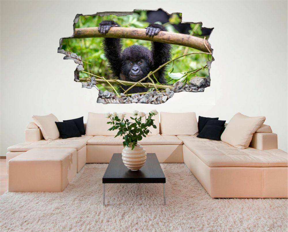 Gorille singe bébé Nature Sauvage Mural Sticker Sticker Sticker Autocollant c0164 df6b45