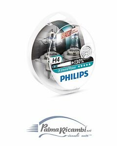 LAMPADE PHILIPS X-Treme Vision H4 12V 60/55W luce +130% luce fino a 130m 3700K