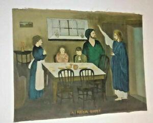 Antique-Primitive-Religious-Painting-A-Royal-Guest-Folk-Art-Jesus-Come-to-Dinner
