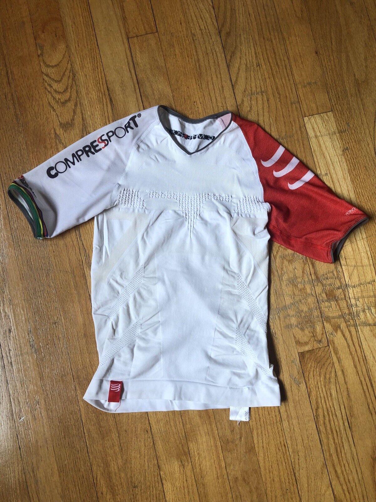 Compressport  Men's Triathlon Short Sleeve Shirt White Small  luxury brand