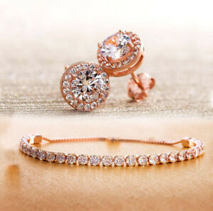 18K-Rose-Gold-Plated-Swarovski-Crystal-Bracelet-amp-Earrings-Set