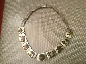 Mexico-Saguaro-Cactus-Sterling-Silver-Brass-Copper-Mixed-Metal-Link-Necklace