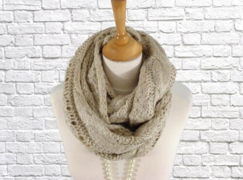 Golden Cream Thick Cable Knitted Infinity Snood Scarf Neck Warmer
