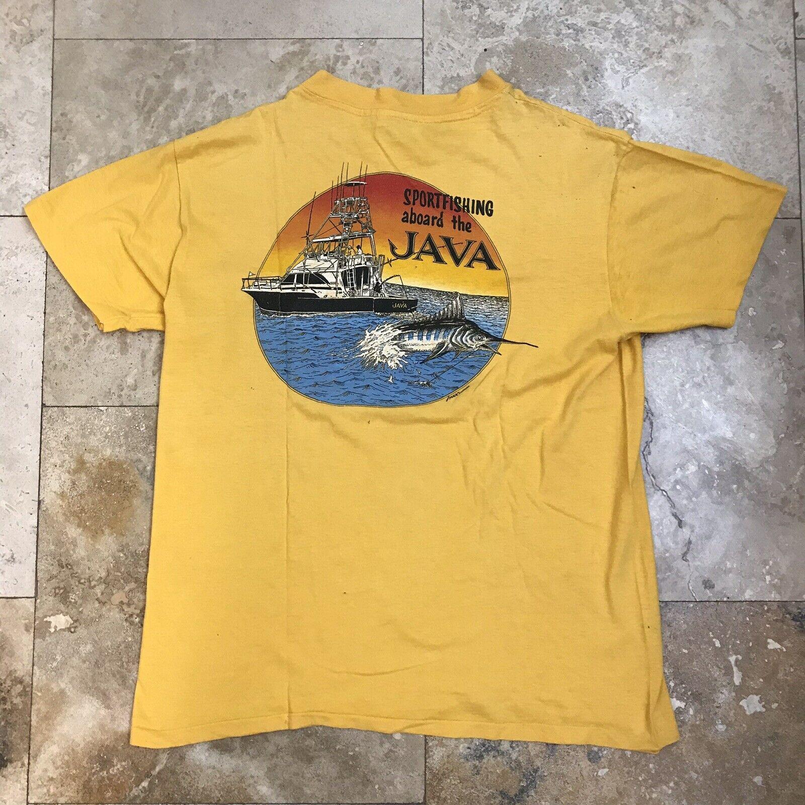 Vintage 80s Single Pocket Marlin Fishing Club T Shirts Blue Extra Large