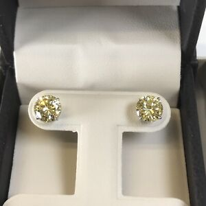 2-Ct-Studs-Diamond-Earrings-Fancy-Yellow-Round-Man-Made-14k-Solid-Gold