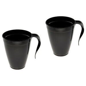 Details About 120 Black Disposable Hard Plastic Coffee Mugs Tea Cups With Handle 8oz 227ml
