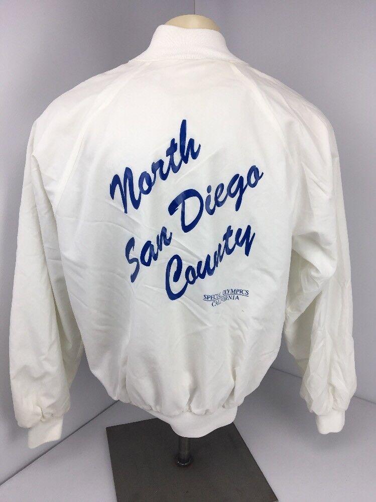 Vintage 80 S Hartwell Satin Snap Jeux olympiques spéciaux San Diego Veste Manteau Sz XL USA