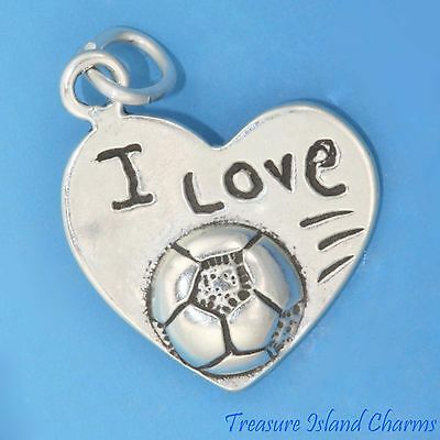 I Love Soccer Heart Shaped .925 Solid Sterling Silver Charm Pendant MADE IN USA