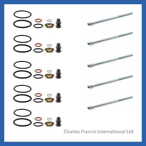 5 x INJECTOR SEAL KIT AND BOLTS FOR BOSCH PD INJECTOR VW TRANSPORTER