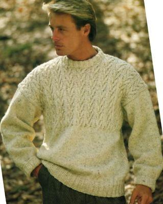 Knitting Pattern Man/'s Aran Cable Sweater 86-102 cm 209