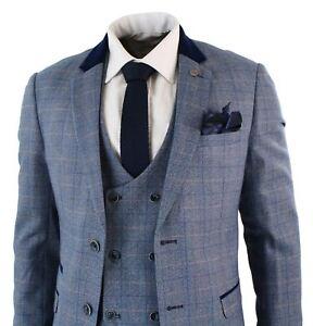 énorme inventaire couleurs harmonieuses acheter en ligne Détails sur Costume homme bleu carreaux Marc Darcy 3 pièces empiècement  gilet veston croisé