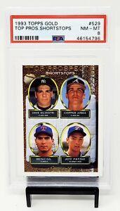 1993-Topps-GOLD-RC-HOF-Atlanta-Braves-CHIPPER-JONES-Rookie-Baseball-Card-PSA-8