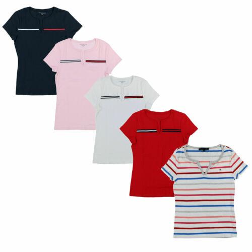 Tommy Hilfiger Womens T-Shirt Split V-neck Short Sleeve Ribbon Logo Flag New Nwt