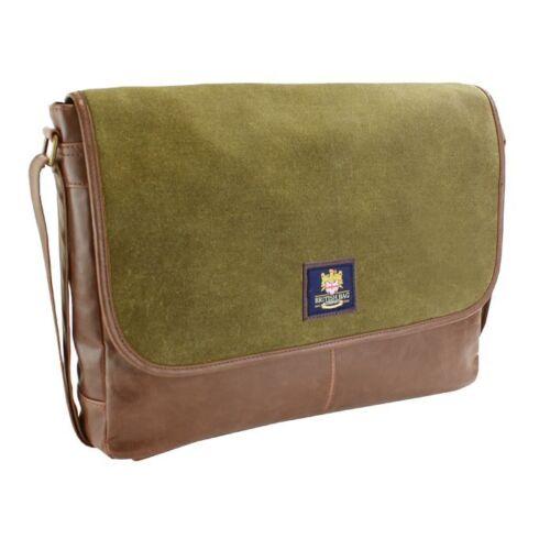 British Bag Co Waxed Canvas Messenger Bag 25132