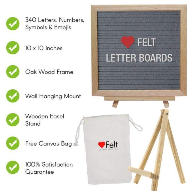 Heartfelt Letter Board 10x10 Inch Felt Wood Board W 340 Letters Numbers Etc