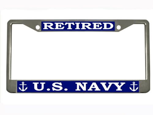 NAVY Metal Auto License Plate Frame Car Tag Holder RETIRED U.S